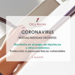 Coronavirus. Moratoria hipotecaria. Nuevas medidas urgentes