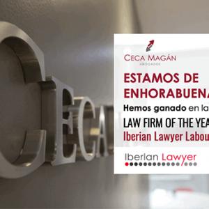 Ceca Magán Abogados, destacado por Iberian Lawyer como mejor despacho del año en la especialidad de Litigación Laboral