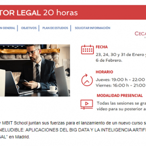Curso sobre las aplicaciones del Big Data y la Inteligencia Artificial en el Sector Legal