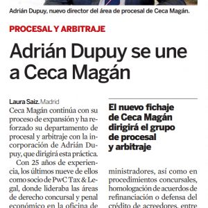 Adrián Dupuy se une a Ceca Magán