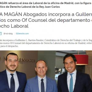 El Catedrático Guillermo Barrios se incorpora a Ceca Magán Abogados