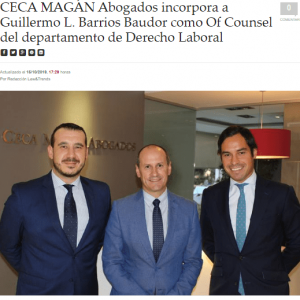 Ceca Magán incorpora a Guillermo Barrios Baudor como Of Counsel