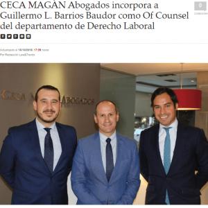 Ceca Magán incorpora a Guillermo Barrios Baudor como Of Counsel