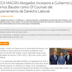 Guillermo Barrios Baudor refuerza el área laboral de Ceca Magán como Of Counsel