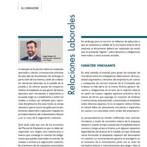 Eficacia y carácter vinculante del Manual de Empleado