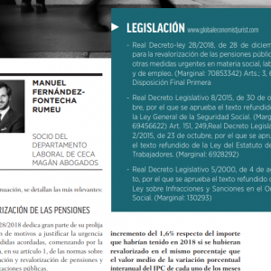 RD Ley 28/2018 para la revalorazación de las pensiones publicas y otras medidas en materia laboral, social y de empleo