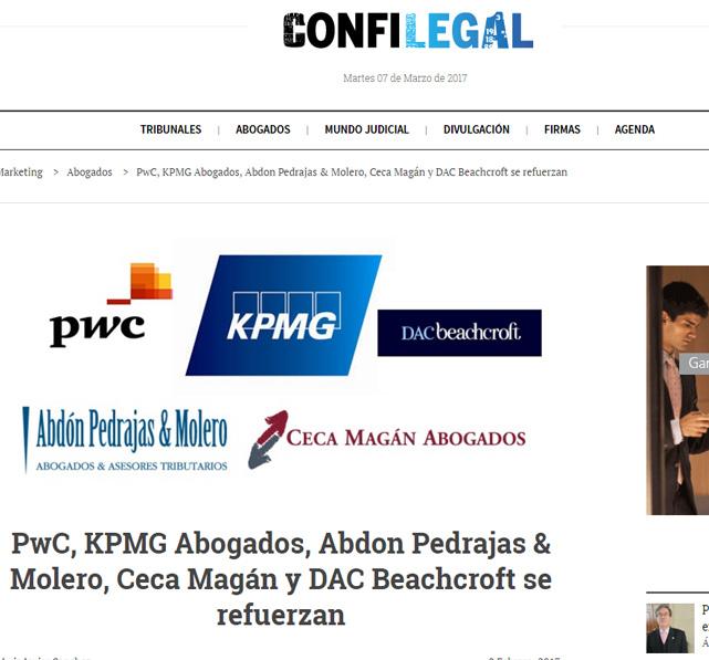 PwC, KPMG Abogados, Abdon Pedrajas & Molero, Ceca Magán y DAC Beachcroft se refuerzan