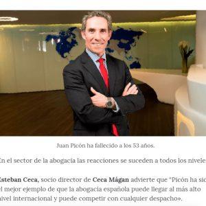 Esteban Ceca opina en Confilegal sobre la exitosa trayectoria de Juan Picón