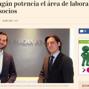 Ceca Magán incorpora dos nuevos socios en el área laboral