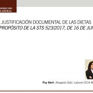 La justificación documental de las dietas, a propósito de las STS 523/2017, de 16 de junio